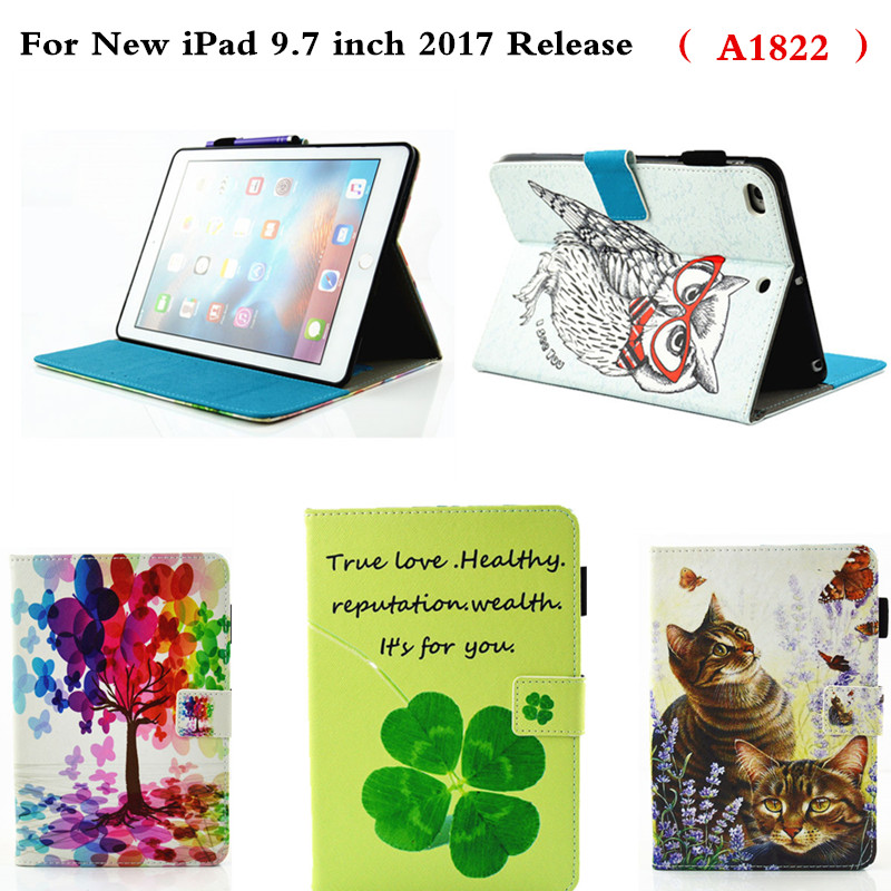 PU Leather Protective Cover Flip Stand Holder Shockproof Kids Cute Cartoon Case For New Ipad 9.7 Inch 2017 Release A1822 Tablet 1 pcs diy car styling new pu leather free punch with cup holder central armrest cover case for ford 2013 fiesta part accessories