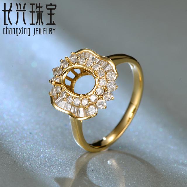6x8mm oval 18 K oro amarillo Natural 0.69ct Diamond Joyería Del Anillo de Compromiso Semi Anillo de Ajuste Montaje