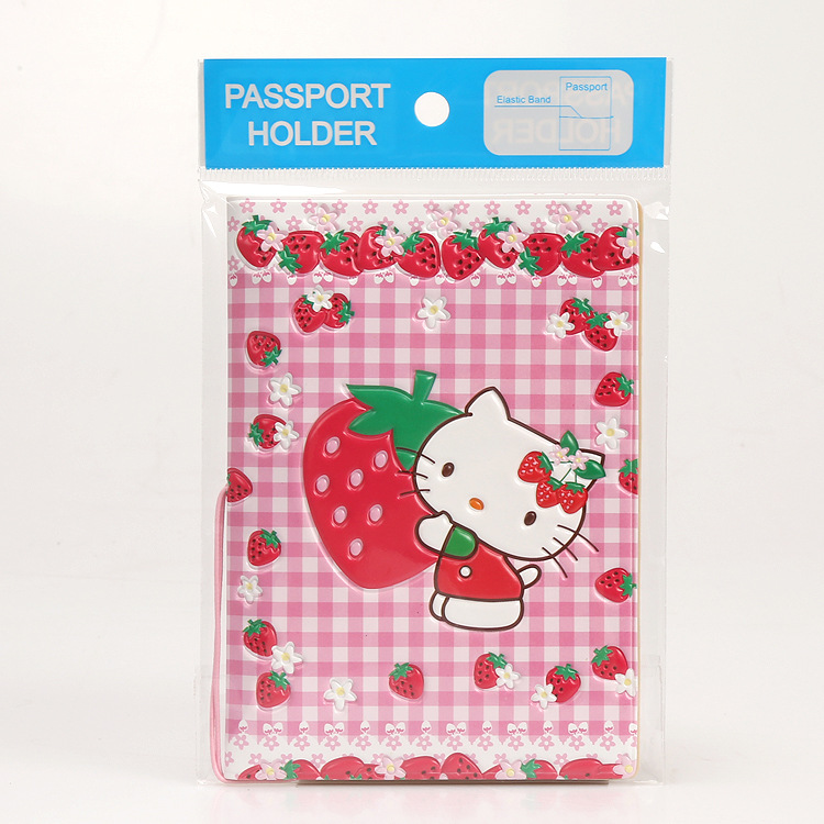 Cartoon Hello Kitty Travel Passport Cover,Business Porte Carte Simple,14*9.6CM ID Card Bag,PVC Leather Credit Card Holder