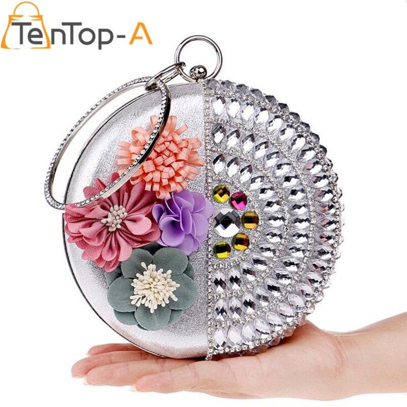 TenTop-Un 2017 3D Flores Artificiales de Embrague Noche Bolsa Bolso Nupcial de L