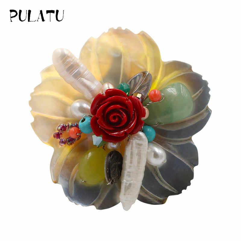 Pulatu Alami Shell Karang Wanita Bros Pins Desain Bunga Mutiara Hijau Kristal Inlay Daun Busana Buatan Tangan Perempuan Bros