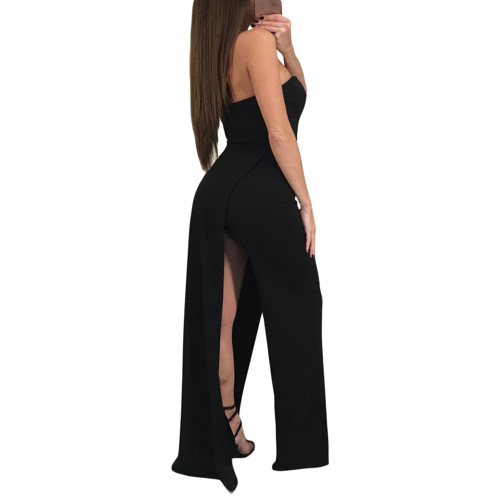 435486437b9 2018 New Fashion Summer Ladies Sexy Black White Asymmetric Split Leg  Strapless Jumpsuit Elegant Playsuits Rompers For Women s-in Jumpsuits from  Women s ...