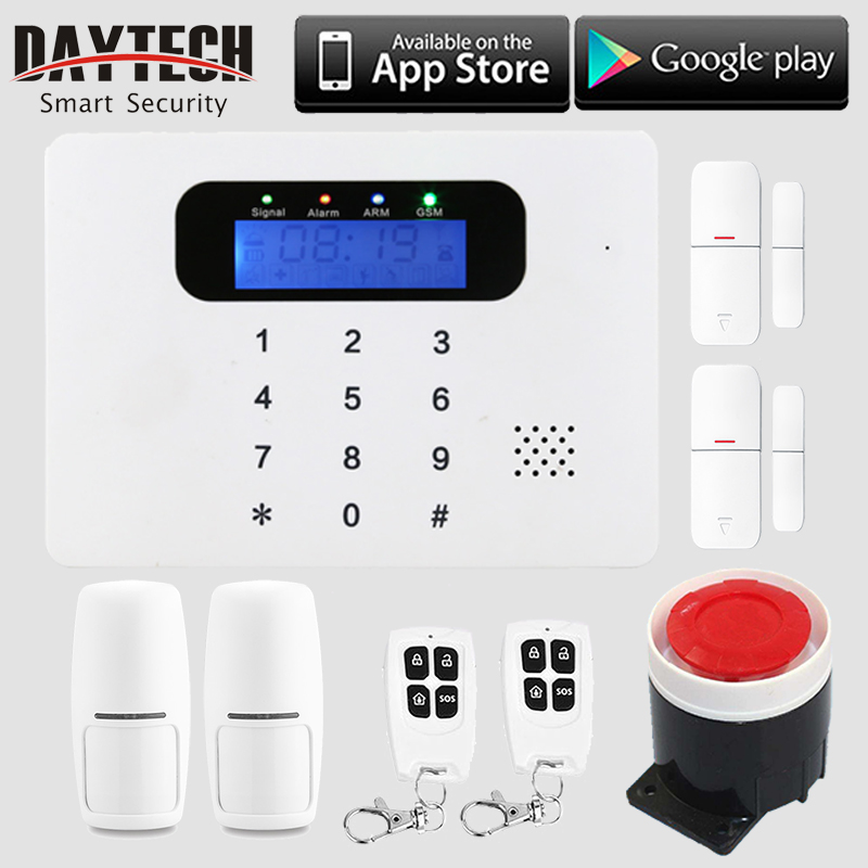 DAYTECH Wireless WiFi GSM SMS  Alarm Home Security System APP Control LCD Touch Keyboard with PIR Detector Sensor Remote-control fuers wifi gsm sms home alarm system security alarm new wireless pet friendly pir motion detector waterproof strobe siren