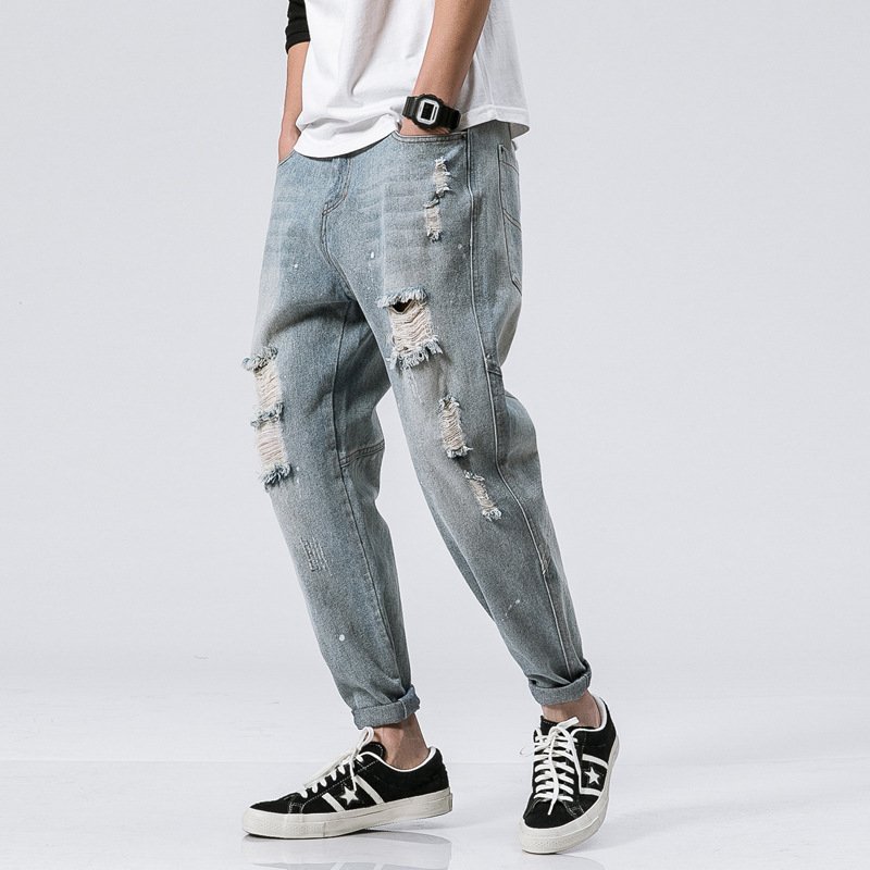 LEDINGSEN 2018 Spring Mens Baggy Ripped Blue Jeans Loose Distressed Destoryed Hole Denim Harem Pants Trousers Streetwear