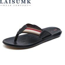 LAISUMK Summer Men Shoes Fashion Mens Flip Flops 2019 Trendy Anti-slip Leather Casual Classic Massage Beach Slippers