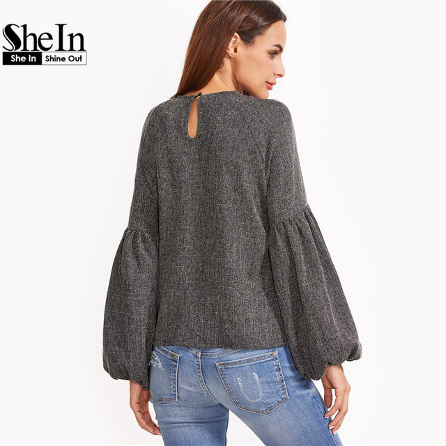 SheIn Women Tops and Blouses New Fashion Women Shirt Ladies Tops Grey Keyhole Back Lantern Sleeve Top Long Sleeve Blouse