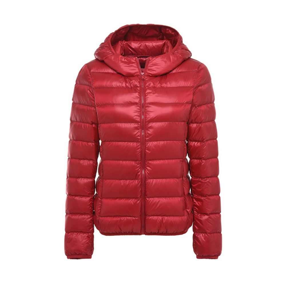 5XL 6XL 7XL zima kobiety Ultra lekka kurtka puchowa kobiety kurtki z długim rękawem ciepła kurtka z kapturem Parka kobiet znosić Plus rozmiar