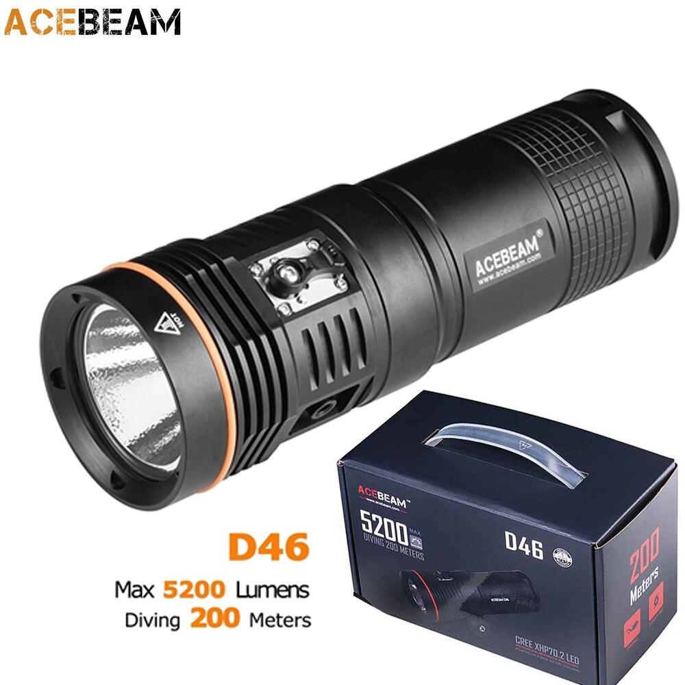 ACEBEAM D46 Diving Flashlight CREE XHP70 2 max 5200 lumen beam throw 398 meter dive light