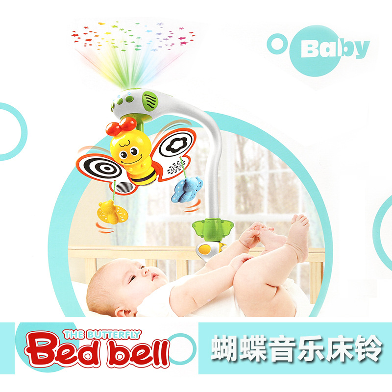 Butterfly baby Rattles music box hanging bed bell toy Hanging Bell Multifunctional Projection New Born Gifts newborn baby bed rotary music bell toy baby stroller toy rattles accessories pendant