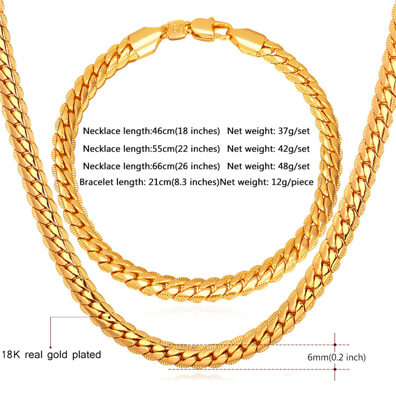 GoldRose Gold Color Chain For Men Necklace Bracelet Set Hot Fashion