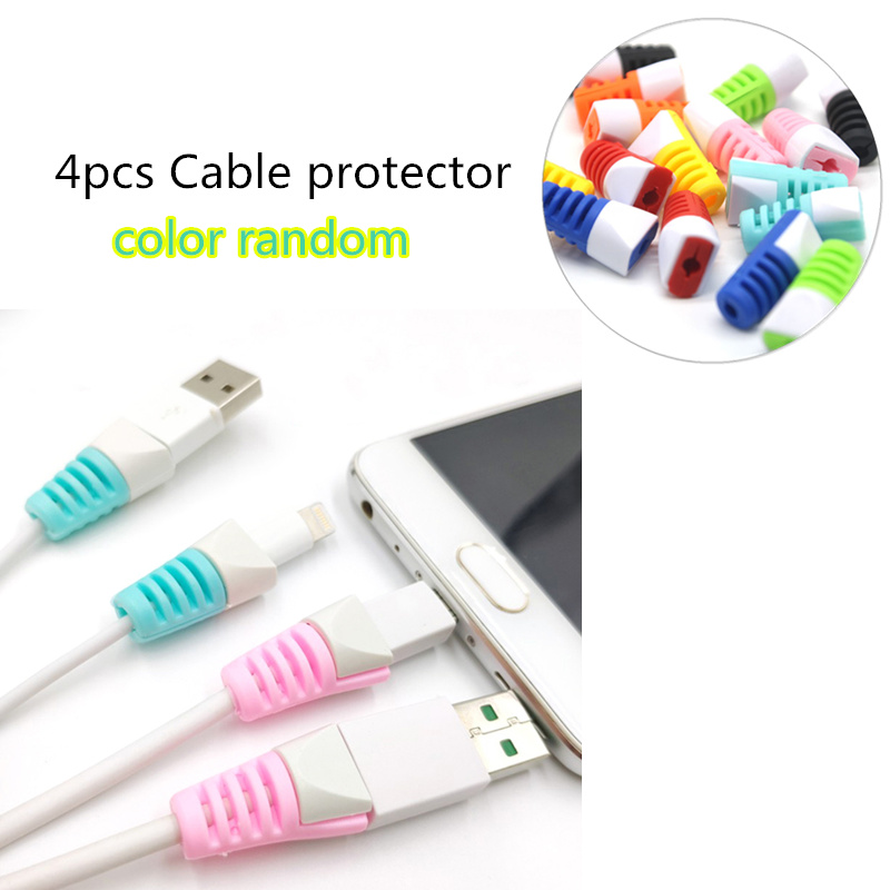 4pcs Cable protector Bobbin winder Data Line Case Rope Protection Spring twine For iPhone Android USB Earphone Cover