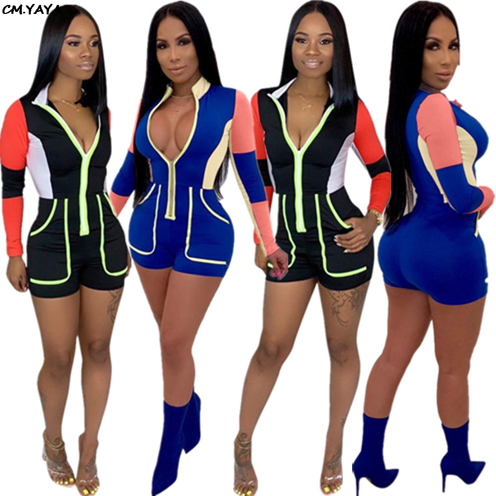 7088b209f0b7 Detail Feedback Questions about 2019 Women Moto Biker Zipper Up Long Sleeve  splicing Short Jumpsuit with pocket Sexy Bodycon Playsuit Active wear Romper  ...