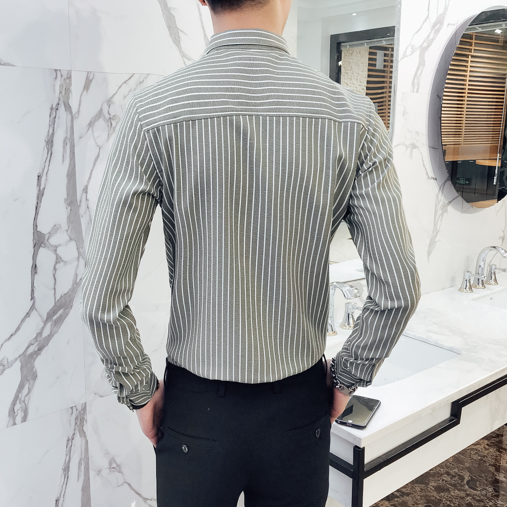 High Quality Men Striped Shirts Long Sleeve Slim Fit Business Work Shirt Men Casual Single Breasted Social Shirts Formal Wear