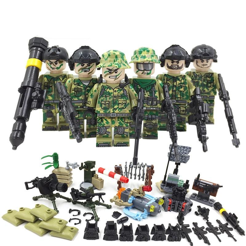 6PCS World War II US Military Soldiers Flgures Bricks Model WW2 German Army Weapons Building Blocks Bricks LegoINGlys Kids T