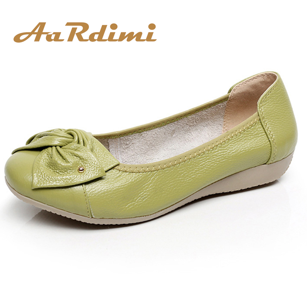 AARDIMI Plus Size 35-43 Genuine Leather Shoes Women Spring Loafers Flats Ballet Women Leisure Flat Shoes Solid Mother Shoes flat shoes women pu leather women s loafers 2016 spring summer new ladies shoes flats womens mocassin plus size jan6