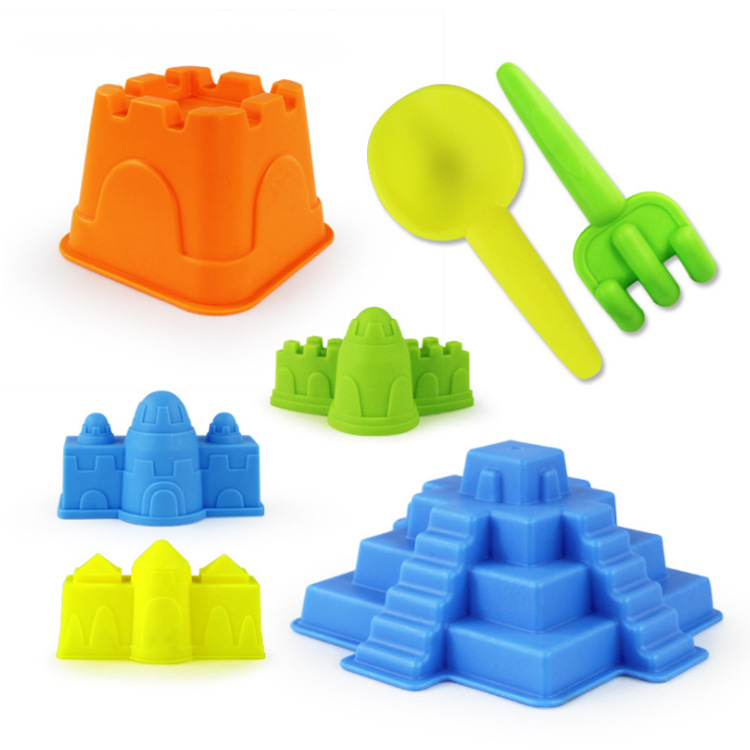 7Pcs Sand Sandbeach Castle Model With Digging Sand Water Tools Toys Sand Game Funny Educational Toys For Children Best Gift