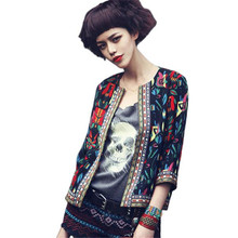 Newly Fashion O Neck Women Slim Floral Outwear Parka Trench Coat Jacket Plus Size Casual Flower Print Outwear Coat No7