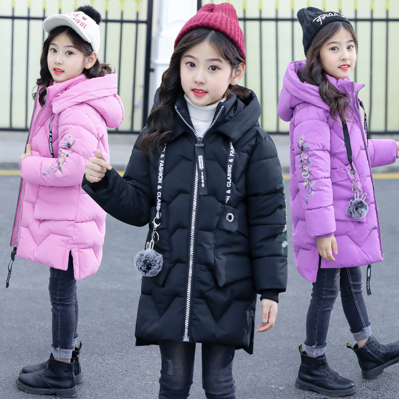 New kids winter jacket for girls winter coat hooded long down parkas children thick outfit cotton clothes 6-12Y outerwear coats new winter children hooded cotton parkas boys girls cartoon jacket coat baby plus thick velvet outerwear fashion kids clothes