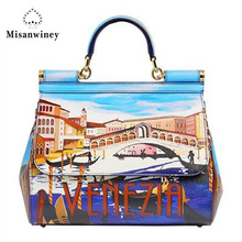Misanwiney 2017 Fashion Handbags Cow Leather Women's Handbag Flap Bag For Women free shipping
