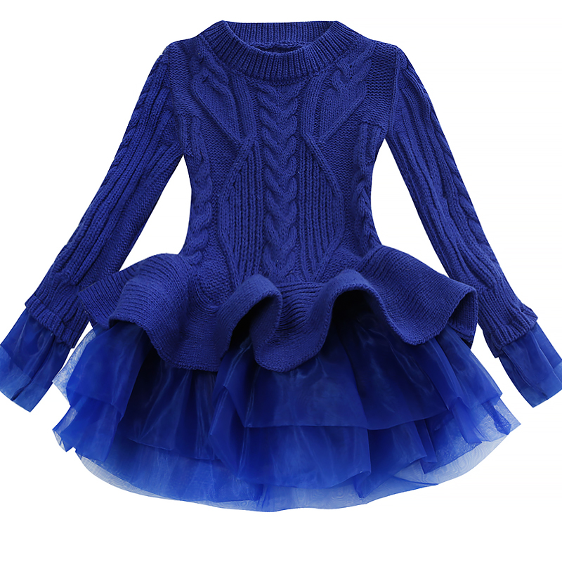 Korea Lace Knitted Sweaters Warm Dresses Winter Baby Wear Clothes Girls Clothing Sets Children Dress Child Clothing Kids Costume 3