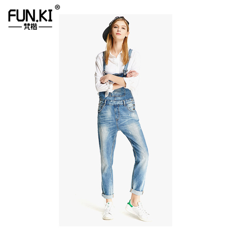 d7c0cbdc8e88 FUNKI Women Jeans Jumpsuit Casua Denim Overalls 2018 Spring Autumn Strap  Ripped Scratched Pockets Full Length Clothing-in Jeans from Women s  Clothing on ...