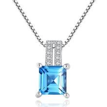 1.7ct Genuine Multi London Blue Topaz Pendant Necklace 100% 925 Sterling Silver 45cm Box Chain Women Fashion S925 Jewelry