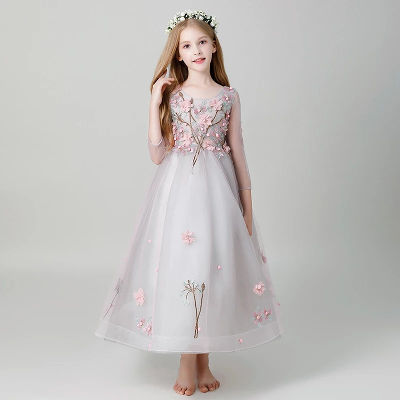 2018 Autumn Children Girls Gorgeous Birthday Wedding Party Princess Appliques Flowers Long Dress Model Show Evening Party Dress