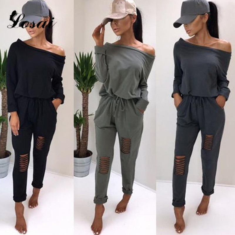Women Cotton Long Sleeve   Jumpsuit   Off Shoulder   Jumpsuit   Sashes Bodysuit Ladies 2019 Spring Rompers Hole Black Solid Romper