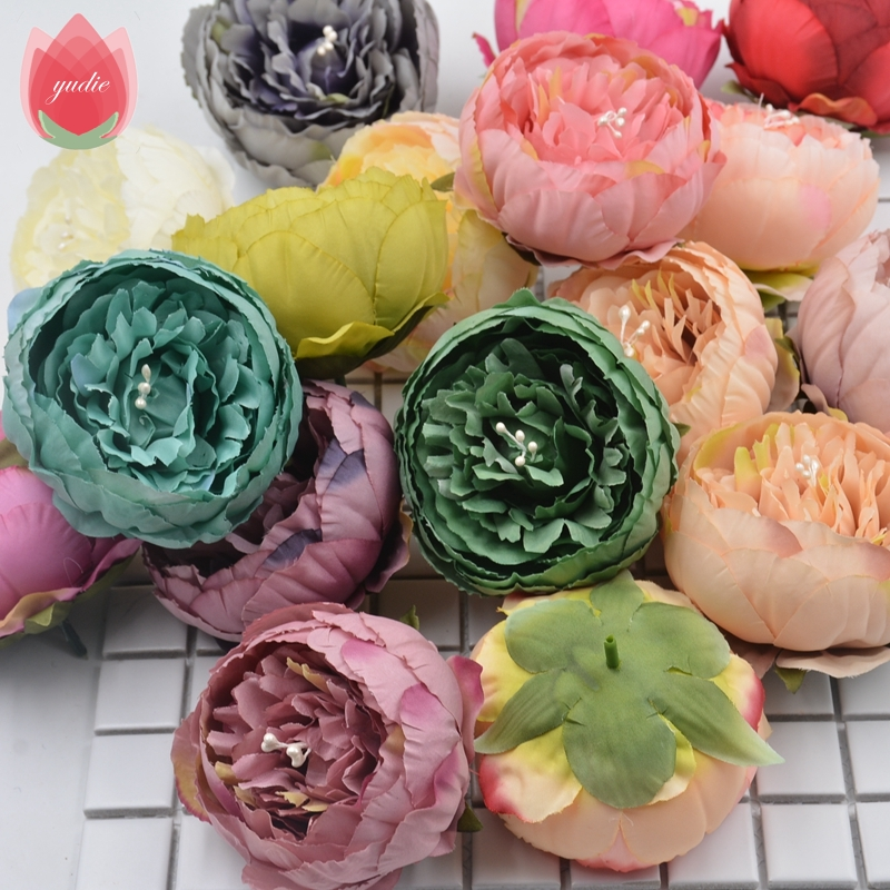 2Pcs 17Colors 9cm Peony Handmade Artificial Flowers For Wedding Party Home Decoration Marriage Shoes Hats Accessories Flowers