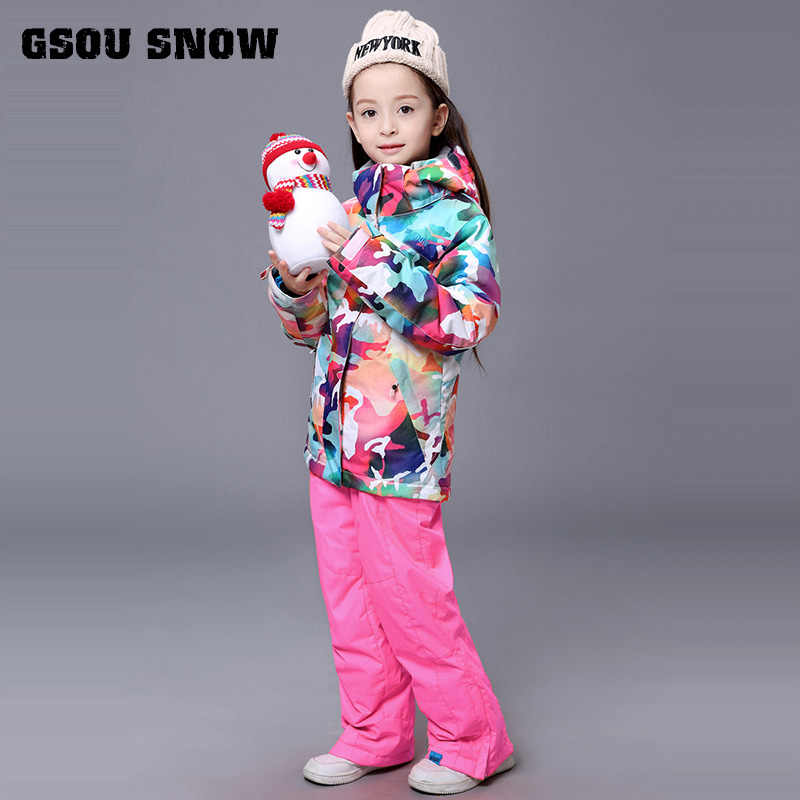New Gsou Snow Kids Children Ski Suit Boys or Girls Ski Jacket+Pant  Snowboard Kid Thicken Windproof Waterproof Suit Set