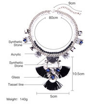 2017 Brand Maxi Necklace Ethnic Style Synthetic Stone Tassel Choker Necklace Statement Jewelry Accessories for Women