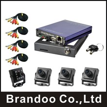 DIY 4 CHANNEL D1 MOBILE DVR KIT,EASYSTORAGE,4 cameras and cables, DIY installation, used for bus,taxi,truck,from Brandoo