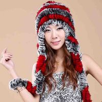 Women Real Rex Rabbit Fur Hats Fashion Autumn Winter Luxury Genuine Handmade Knitted Striped Lady Warm Caps Beanies 2018