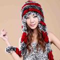 Women Real Rex Rabbit Fur Hats Fashion Autumn Winter  Luxury Genuine Handmade Knitted Striped  Lady Warm Caps Beanies 2016
