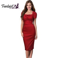 Fantaist 2016 Summer Vintage Square Collar Cute Bow Pencil Dress Tunic Pleated Elegant Party Formal Office