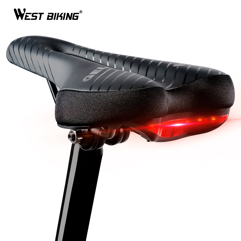 WEST BIKING Bicycle Saddle MTB Road Bike Cycling Saddles with Tail Light Soft Seat Comfortable Hollow Bicycle Safety Bike Saddle road bike carbon fiber saddle mtb bicycle hollow breathable saddle cycling comfortable cushions mountain bike riding accessories