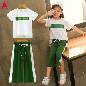 2020 Girls Clothing Sets Short Sleeve T-Shirt+Pants 2Pcs Summer Kids Outwear Children Clothes Suits 3 4 5 6 7 8 9 10 11 12 Years(China)