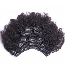 Clip In Human Hair Extensions 4B 4C Mongolian Afro Kinky Curly Virgin Hair Clip Ins 120g