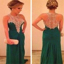 Tidetell Vintage A-Line Scoop Sleeveless Langes Abendkleid Appliques Grün Chiffon Promkleider 2016 Vestido De Novia