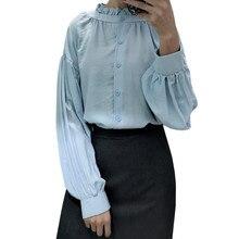 Vintage Palace Ladies Blouses 2018 Autumn Long Sleeve Shirt Women Frilled Stand Collar Elegant Lantern Sleeve Shirt Tops