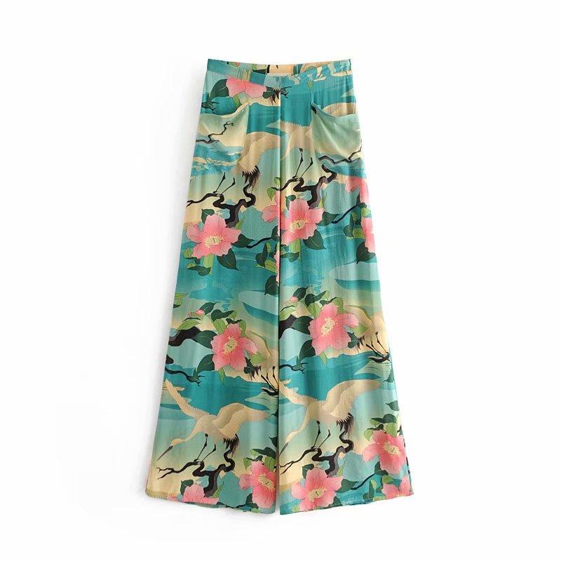 GYPSY Boho Chic Summer Vintage Floral Crane   Wide     Leg     Pants   Women Fashion Side Zipper Pockets Loose Trousers Pantalones Femme