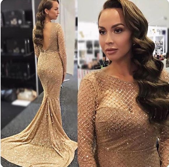 New Arrival Mermaid   Evening     Dresses   O-Neck Long Sleeves Floor Length Beading Tulle Formal   Dresses   Prom Gowns Robe de soriee