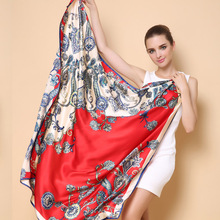 2016 winter high quality 100% real silk satin Scarf Shawl wrap women female fashion big square Scarves cashew pattern 105x105CM