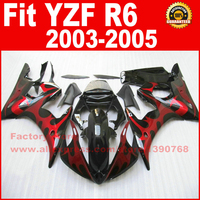 Custom motorcycle fairings kit for YAMAHA R6 2003 2004 2005 YZF R6 03 04 05 red flame black fairing kits