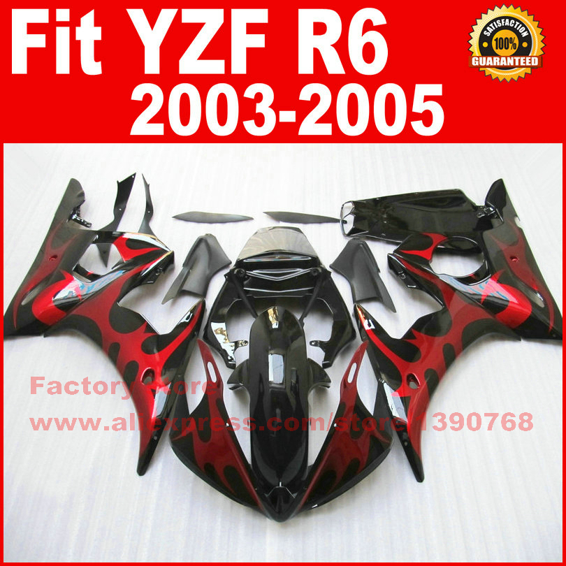 Custom motorcycle fairings kit for YAMAHA R6 2003 2004 2005 YZF R6 03 04 05  red flame black fairing kits motorcycle front light headlight head lamp for yamaha yzf r6 yzfr6 yzf r6 2003 2004 2005 03 04 05