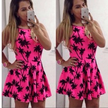 2017 New Fashion Women Sleeveless Mini Red Dress vestidos tropical Coconut trees Print Party dress Plus Size Free Shipping