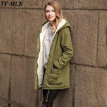 Плюс Размеры Для женщин Пальто и пуховики Мода Осень теплые зимние куртки Для женщин Длинная парка Толстовки хлопковая верхняя одежда парки Mujer Invierno; коллекция 2017 года
