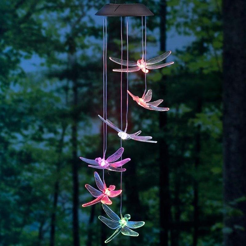 Fashion LED Solar Lamp Color Changing Wind Chimes Dragonfly Light Outdoor Home Garden Decor(Random Color)