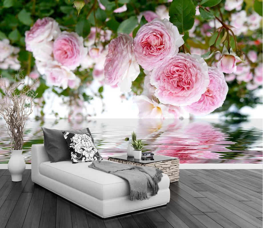 Custom 3d Stereoscopic Wallpaper Luxury Rose Garden Pink