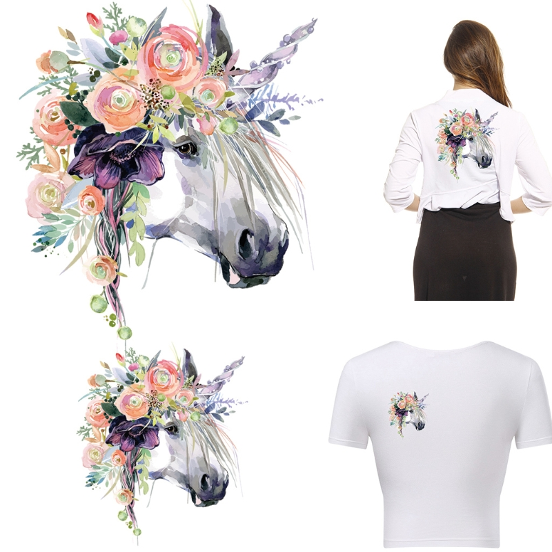 Clothes Iron On Appliques Heat Transfer Stickers DIY Printing Horse Patches Drop Ship